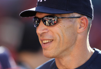 ANAHEIM, CA - JUNE 04:  Manager Joe Girardi of the New York Yankees talks on the field before the game wtih the Los Angeles Angels of Anaheim on June 4, 2011 at Angel Stadium in Anaheim, California.  (Photo by Stephen Dunn/Getty Images)
