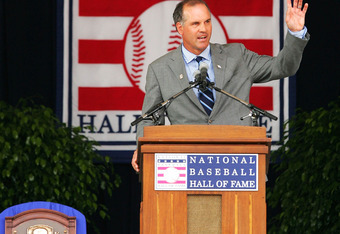 COOPERSTOWN, NY - JULY 31:  2005 inductee Ryne Sandberg waves to the crowd after some one shouted 'I love you Ryne' during his speak in the Baseball Hall of Fame induction ceremony on July 31, 2005 at the Clark Sports Complex in Cooperstown, New York.  (P