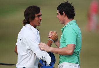 Rickie Fowler and Rory McIlroy are tied at even par.