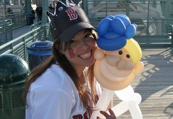 That is Red Sox pitcher, Dan Bard (on right), created out of balloons by Royal Sorell.