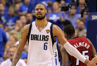 DALLAS, TX - JUNE 07:  Tyson Chandler #6 of the Dallas Mavericks reacts against the Miami Heat in Game Four of the 2011 NBA Finals at American Airlines Center on June 7, 2011 in Dallas, Texas. NOTE TO USER: User expressly acknowledges and agrees that, by