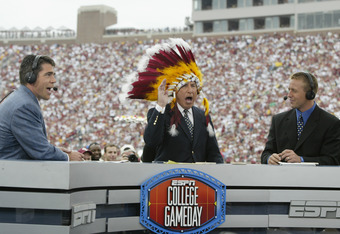 From left, ESPN's Chris Fowler, Lee Corso and Kirk Herbstreit