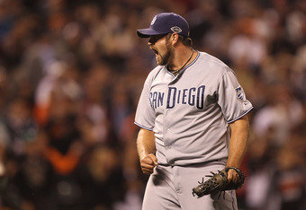SAN FRANCISCO, CA - JULY 05:  Heath Bell #21 of the San Diego Padres celebrates after defeating the San Francisco Giants at AT&T Park on July 5, 2011 in San Francisco, California.  (Photo by Jed Jacobsohn/Getty Images)
