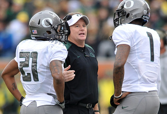 Chip Kelly, Darron Thomas, and La Michael James