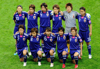 FRANKFURT AM MAIN, GERMANY - JULY 17:  Lines up Team Japan, pictured prior to the FIFA Womens's World Cup Final between the United States of America and Japan at FIFA Word Cup stadium on July 17, 2011 in Frankfurt am Main, Germany.  (Photo by Thorsten Wag
