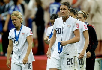 FRANKFURT AM MAIN, GERMANY - JULY 17:  Abby Wambach of USA looks dejected during the FIFA Women's World Cup Final match between Japan and USA at the FIFA World Cup stadium Frankfurt on July 17, 2011 in Frankfurt am Main, Germany.  (Photo by Friedemann Vog
