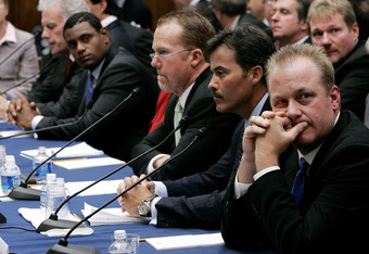 WASHINGTON - MARCH 17:  (R to L) Boston Red Sox pitcher Curt Schilling, Rafael Palmeiro of the Baltimore Orioles, former St. Louis Cardinals Mark McGwire and Sammy Sosa of the Baltimore Orioles listen to testimony the House Committee hearing investigating