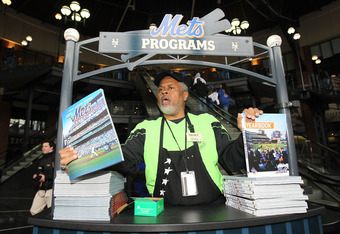 Mets programs with scorecard inserts for sale at Citi Field.
