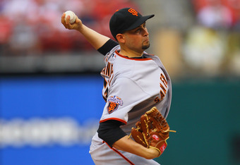 ST. LOUIS, MO - JUNE 2: Starter Jonathan Sanchez #57 of the San Francisco Giants pitches against the St. Louis Cardinals at Busch Stadium on June 2, 2011 in St. Louis, Missouri.  (Photo by Dilip Vishwanat/Getty Images)