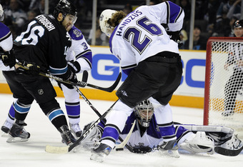 With the departure of Devin Setoguchi (left), the Sharks were able to bring in Kings forward Michael Handzus (right) to bolster San Jose's faltering penalty kill.