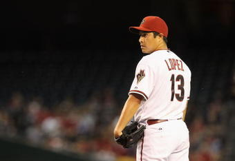 Rodrigo Lopez went 7-16 for the Diamondbacks in 2010.