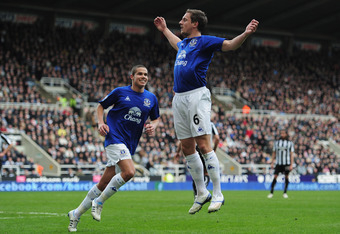 NEWCASTLE UPON TYNE, ENGLAND - MARCH 05:  Phill Jagielka of Everton celebrates his goal during the Barclays Premier League match between Newcastle United and Everton at St James' Park on March 5, 2011 in Newcastle upon Tyne, England.  (Photo by Jamie McDo