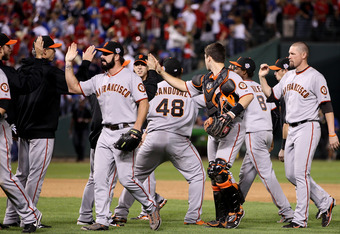 ARLINGTON, TX - OCTOBER 31:  The San Francisco Giants celebrate their 4-0 win over the Texas Rangers in Game Four of the 2010 MLB World Series at Rangers Ballpark in Arlington on October 31, 2010 in Arlington, Texas.  (Photo by Christian Petersen/Getty Im