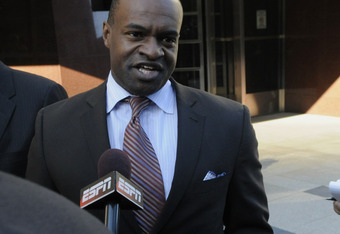MINNEAPOLIS, MN - MAY 16: Former NFL Players Association Executive Director DeMaurice Smith speaks to members of the media after leaving court-ordered mediation at the U.S. Courthouse on May 16, 2011 in Minneapolis, Minnesota. Mediation was ordered after
