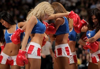 January 6, 2008: The 76ers' dancers put on a Rocky-themed show in Philadelphia's Wells Fargo Center.
