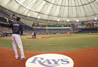ST PETERSBURG, FL - OCTOBER 07: Desmond Jennings #27 the Tampa Bay Rays waits on deck during Game 2 of the ALDS against the Texas Rangers at Tropicana Field on October 7, 2010 in St. Petersburg, Florida.  (Photo by Mike Ehrmann/Getty Images)