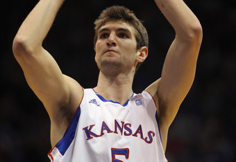 LAWRENCE, KS - DECEMBER 29:  Jeff Withey #5 of the Kansas Jayhawks in action during the game against the University of Texas Arlington Mavericks on December 29, 2010 at Allen Fieldhouse in Lawrence, Kansas.  (Photo by Jamie Squire/Getty Images)