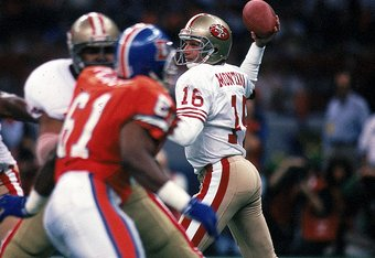 28 Jan 1990:  Quarterback Joe Montana #16 of the San Francisco 49ers in action during the NFL Super Bowl XXIV Game against Denver Broncos at the Louisiana Superdome in New Orleans, Louisiana. The 49ers defeated the Broncos 55-10. Mandatory Credit: Rick St