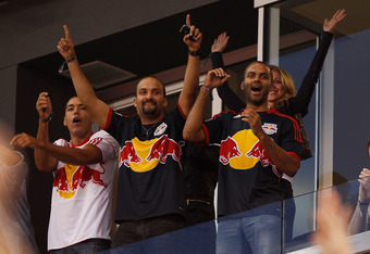 HARRISON, NJ - MAY 15:  Tony Parker of the San Antonio Spurs (R) attends the match between the New York Red Bulls and the Chivas USA on May 15, 2011 at Red Bull Arena in Harrison, New Jersey.  Chivas USA defeated the New York Red Bulls 3-2. (Photo by Mike