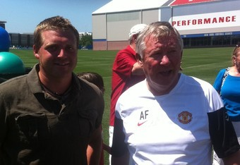 Writer of the article, Craig Hutchinson, with United manager sir Alex Ferguson at the New York Giants training facility