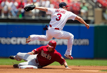 July 10, 2011: Theriot makes the pivot at shortstop in STL.  He's a pivotal man in the Cards' lineup.