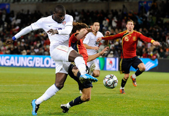 Jozy Altidore against Carles Puyol during the 2-0 win in 2009.