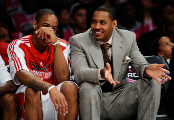 LOS ANGELES, CA - FEBRUARY 18:  DeMar DeRozan #10 of the Toronto Raptors and the Sophomore Team talks with Carmelo Anthony of the Denver Nuggets on the bench during the T-Mobile Rookie Challenge and Youth Jam at Staples Center on February 18, 2011 in Los