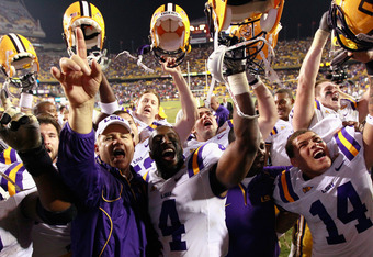 Les Miles is needs 12 or 13 of these post game celebrations for a successful 2011 season.