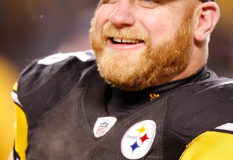 PITTSBURGH - JANUARY 18:  Chris Hoke #76 of the Pittsburgh Steelers smiles after defeating the Baltimore Ravens 23-14 during the AFC championship game on January 18, 2009 at Heinz Field in Pittsburgh, Pennsylvania.  (Photo by Gregory Shamus/Getty Images)