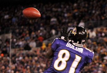 BALTIMORE, MD - DECEMBER 05:  Wide receiver Anquan Boldin #81 of the Baltimore Ravens catches a pass to score a touchdown against the Pittsburgh Steelers during the first quarter of the game at M&T Bank Stadium on December 5, 2010 in Baltimore, Maryland.