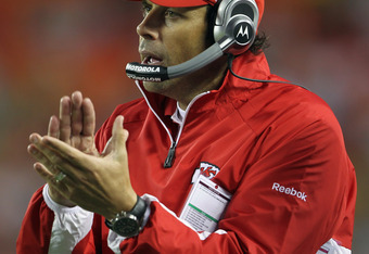 KANSAS CITY, MO - SEPTEMBER 02:  Head coach Todd Haley of the Kansas City Chiefs applauds on the sidelines during the game against  the Green Bay Packers on September 2, 2010 at Arrowhead Stadium in Kansas City, Missouri.  (Photo by Jamie Squire/Getty Ima