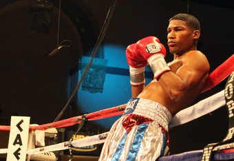 ATLANTIC CITY, NJ - MARCH 26: Yuriorkis Gamboa leans against the ropes before his IBF WBA World Featherweight title bout against Jorge Solis of Mexico during Top Rank's 'Featherweight Fury' on March 26, 2011 at Boardwalk Hall in Atlantic City, New Jersey.