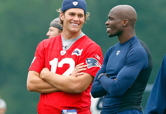Tom Brady and Chad Ochocinco at Patriots training camp
