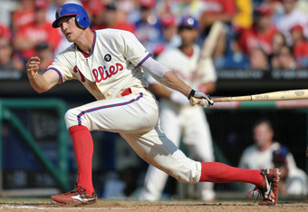 PHILADELPHIA, PA - JULY 31: Hunter Pence #3 of the Philadelphia Phillies follows through on his swing while hitting a double in the 10th inning during the game against the Pittsburgh Pirates at Citizens Bank Park on July 31, 2011 in Philadelphia, Pennsylv