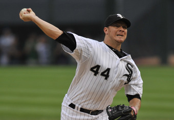 CHICAGO, IL - AUGUST 01: Jake Peavy #44 of the Chicago White Sox pitches against the New York Yankees on August 1, 2011 at U.S. Cellular Field in Chicago, Illinois.  (Photo by David Banks/Getty Images)