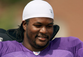 MANKATO, MN - AUGUST 2:  Bryant McKinnie #74 of the Minnesota Vikings on the field during afternoon practice during 2006 Training Camp on August 2, 2006 at Minnesota State University in Mankato, Minnesota. (Photo by David Sherman/Getty Images)