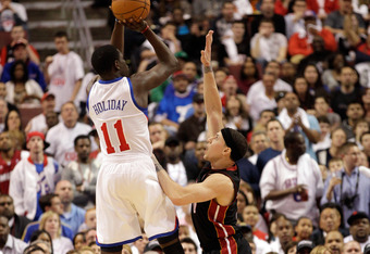 April 21, 2011: Jrue Holiday rises against Mike Bibby in Philly.  Holiday could become a stellar backup.