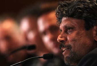 ABU DHABI, UNITED ARAB EMIRATES - MARCH 10:  Kapil Dev speaks to the media prior to the Laureus World Sports Awards 2010 at Emirates Palace Hotel on March 10, 2010 in Abu Dhabi, United Arab Emirates.  (Photo by John Gichigi/Getty Images for Laureus)