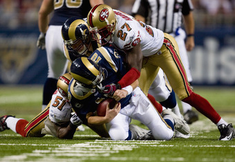 ST. LOUIS, MO - DECEMBER 21: Marc Bulger #10 of the St. Louis Rams is sacked by Walt Harris #27 of the San Francisco 49ers at the Edward Jones Dome on December 21, 2008 in St. Louis, Missouri.  The 49ers beat the Rams 17-16.  (Photo by Dilip Vishwanat/Get