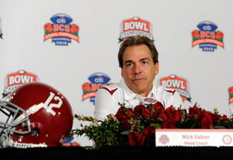 PASADENA, CA - JANUARY 07:  Head coach Nick Saban of the Alabama Crimson Tide speaks during a press conference after winning the Citi BCS National Championship game over the Texas Longhorns at the Rose Bowl on January 7, 2010 in Pasadena, California. The