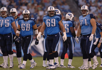 The Titans offensive line in action during the Atlanta Falcons 20-6 defeat of the Tennessee Titans in a preseason game played at The Coliseum in Nashville, Tennessee on August 26, 2006. (Photo by Joe Murphy/NFLPhotoLibrary)