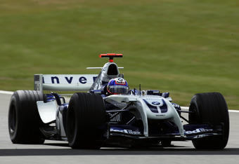 SILVERSTONE, ENGLAND - JULY 9:  Juan Pablo Montoya of Colombia and Williams in action during practice for the Formula One British Grand Prix at Silverstone Circuit on July 9, 2004 in Northamptonshire, England.  (Photo by Bryn Lennon/Getty Images)