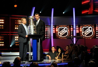 Tim Thomas & Zdeno Chara hoist the Cup during the NHL Awards, which were televised by Versus/NBC Sports Net.