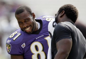 BALTIMORE, MD - AUGUST 06: Anquan Boldin #81 of the Baltimore Ravens talks with teammate Ed Reed (R) during training camp at M&T Bank Stadium on August 6, 2011 in Baltimore, Maryland.  (Photo by Rob Carr/Getty Images)