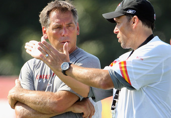 SAINT JOSEPH, MO - JULY 31:  Quarterbacks coach Jim Zorn talks with head coach Todd Haley during Kansas City Chiefs Training Camp on July 31, 2011 in Saint Joseph, Missouri.  (Photo by Jamie Squire/Getty Images)