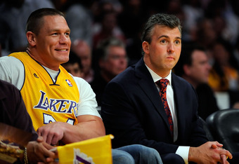John Cena with Shane McMahon at a Los Angeles Lakers game.