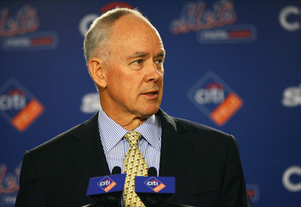 NEW YORK - OCTOBER 29:  Sandy Alderson answers questions during a press conference after being introduced as the general manager for the New York Mets on October 29, 2010 at Citi Field in the Flushing neighborhood of the Queens borough of New York City.