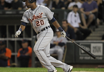 CHICAGO, IL - JULY 26: Wilson Betemit #20 of the Detroit Tigers drives in the winning run in the 8th inning against the Chicago White Sox at U.S. Cellular Field on July 26, 2011 in Chicago, Illinois. The Tigers defeated the White Sox 5-4. (Photo by Jonath