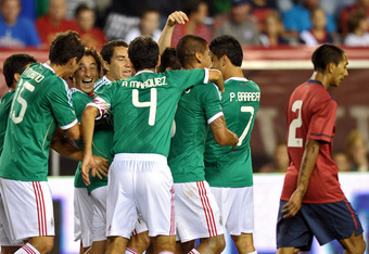 Mexico celebrating their only goal