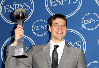 LOS ANGELES, CA - JULY 13:  NBA player Jimmer Fredette poses in the press room with award Best Male College Athlete at The 2011 ESPY Awards at Nokia Theatre L.A. Live on July 13, 2011 in Los Angeles, California.  (Photo by Frederick M. Brown/Getty Images)